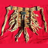 Native American style antiqued bone Choker and Breastplate set decorated with old style 2 inch solid Brass Concho and horsehair scalp lock