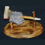 Native American pipe with hand polished deer antler bowl and antler mouthpiece
