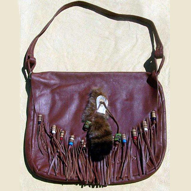 Beaded Fringe Leather Bag