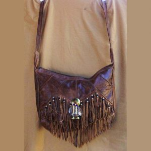 Fringed leather purse with five pockets