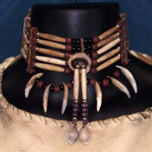 Native American Coyote Tooth Five-Row Choker