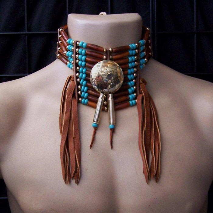 Native american polished brass concho and hairpipe choker for How to make american indian jewelry