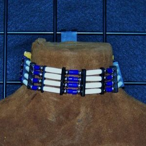 Bone Choker with Royal Blue Glass Beads