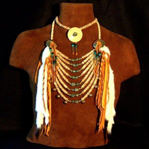 Native American Bone & Turquoise Loop Necklace and Choker Set