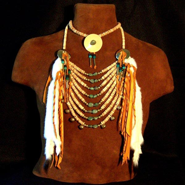 Traditional Four Strand Turquoise Bone  Indian  Choker