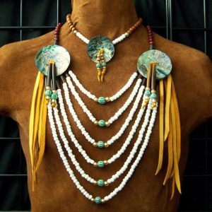 Native American Style Abalone Loop Necklace - Choker Set