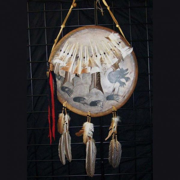 Native American Style Buckskin War Shield